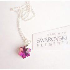 Колие SWAROVSKI розова снежинка