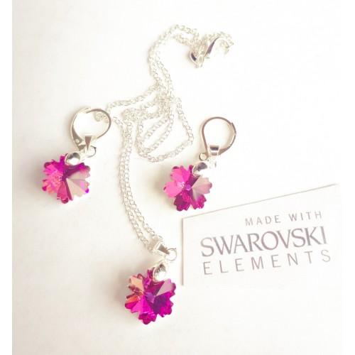 Комплект обеци и колие SWAROVSKI розова снежинка