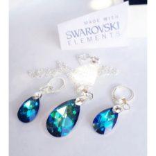 Комплект обеци и колие SWAROVSKI BLUE