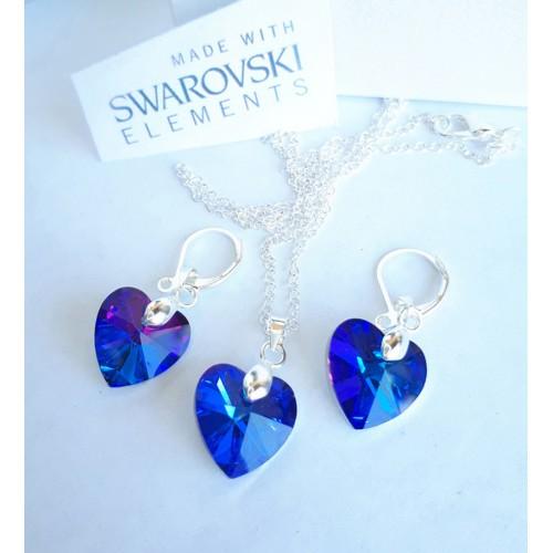 Комплект обеци и колие SWAROVSKI Heart