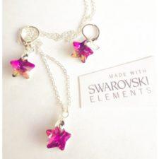 Комплект обеци и колие SWAROVSKI Pink Stars